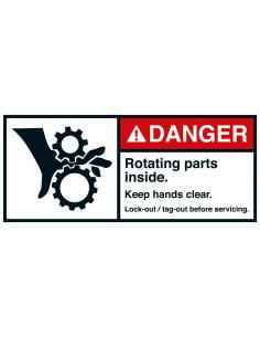 Sticker 'Danger Rotating parts inside' ANSI