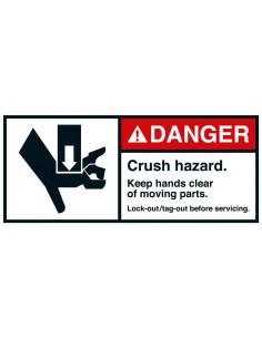 Sticker 'Danger Crush hazard' vertical ANSI