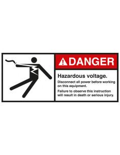 Sticker 'Danger Hazardous voltage disconnect all power' ANSI