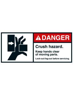 Sticker 'Danger Crush hazard' horizontal ANSI