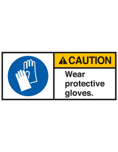 Sticker 'Caution Wear protective gloves' ANSI