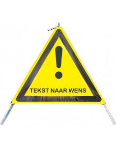 Inklapbare signalering met uitroepteken en \'Tekst naar wens\', 600 mm, geel/zwart