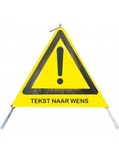 Inklapbare signalering met uitroepteken en \'Tekst naar wens\', 900 mm, geel/zwart