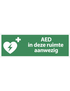 Sticker 'AED in deze ruimte aanwezig' 300 x 100 mm