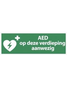 Sticker 'AED op deze verdieping aanwezig' 300 x 100 mm