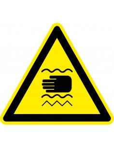 Waarschuwingssticker trillende handen, geel zwart, trillende handen symbool, driehoek