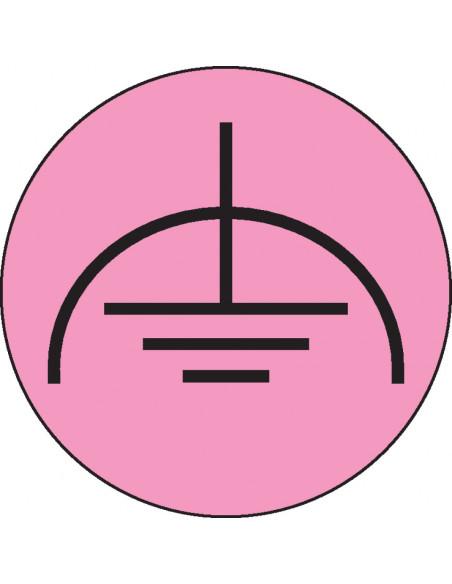 Laagspanning aarde sticker, roze zwart
