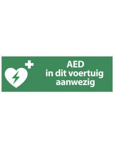 Sticker'AED in dit voertuig aanwezig', 300 x 100 mm