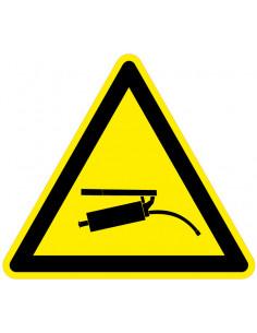 Waarschuwingssticker drukspuit, geel zwart, drukspuit symbool, driehoek