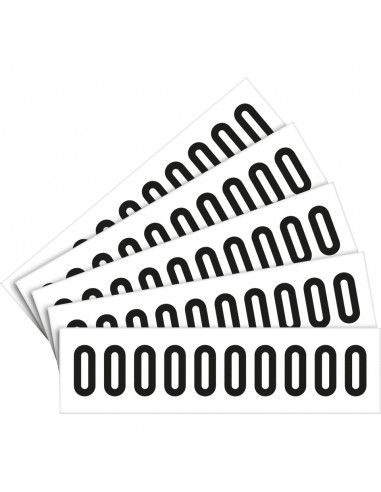 Cijfer stickers wit/zwart teksthoogte: 40 mm