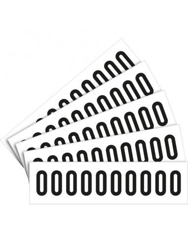 Cijfer stickers wit/zwart teksthoogte: 25 mm, per kaart