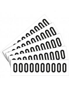 Cijfer stickers wit/zwart teksthoogte: 60 mm