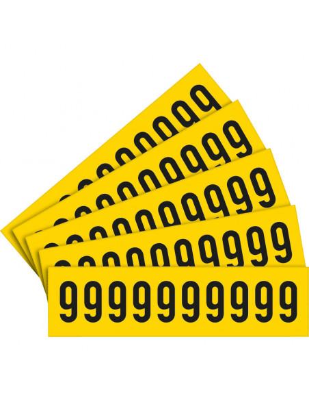 Sticker cijfers geel/zwart, teksthoogte: 25 mm
