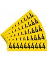 Sticker cijfers geel/zwart teksthoogte: 60 mm