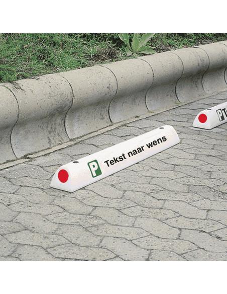 Parkeerplaats begrenzer met tekst naar wens, kunststof