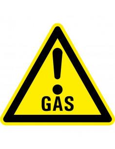 Waarschuwingsbord gas met uitroepteken, geel zwart, gas tekst met uitroepteken, driehoek