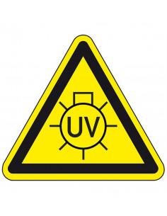 Waarschuwingsbord UV licht, geel zwart, uv licht lamp symbool, driehoek