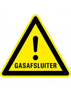 Waarschuwingsbord gasafsluiter, geel zwart, gasafsluiter tekst met uitroepteken, driehoek