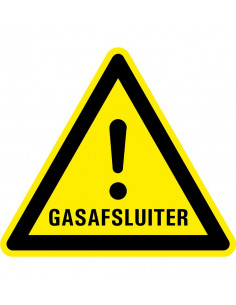 Waarschuwingsbord gasafsluiter, dibond