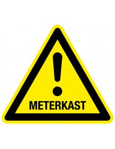 Waarschuwingsbord meterkast, driehoek, geel zwart, uitroepteken