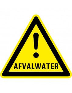 Waarschuwingsbord afvalwater, kunststof,  uitroepteken, symbool, geel zwart, driehoek
