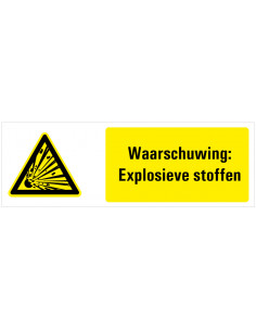 Tekstbord waarschuwing explosieve stoffen, kunststof, ISO 7010, W002, explosie pictogram met tekst