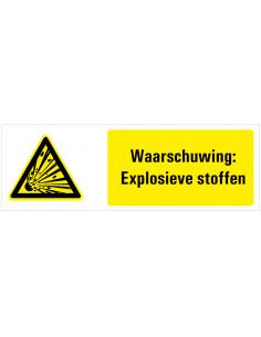 Tekststicker waarschuwing explosieve stoffen, W002, ISO 7010, explosie