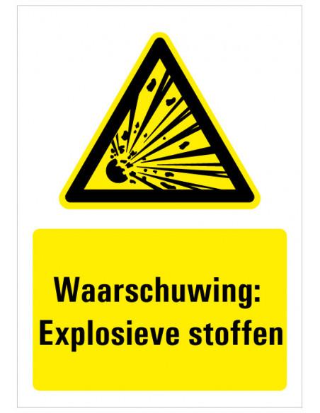 Sticker met tekst waarschuwing explosieve stoffen, W002, explosie, rechthoek