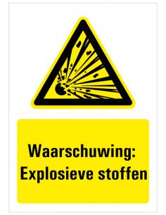 Bord met tekst waarschuwing explosieve stoffen, ISO 7010, W002, explosie met tekst