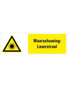 Tekstbord waarschuwing laserstraal, dibond, W004, ISO 7010, geek zwart, rechthoekig, laserstraal pictogram met tekst