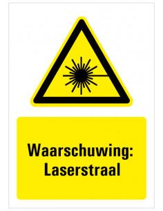 Sticker met tekst waarschuwing laserstraal, W004, ISO 7010, geel zwart, rechthoek, laser pictogram met tekst