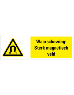 Tekststicker waarschuwing magnetisch veld, W006, magneet, Nederlands tekst, rechthoek, geel zwart wit
