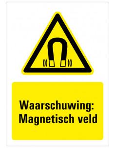 Sticker met tekst waarschuwing magnetisch veld, W006, ISO 7010, geel zwart, rechthoek, magneet symbool