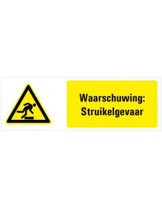 Tekststicker waarschuwing struikelgevaar, W007, geel zwart, ISO 7010, opstapje, driehoek