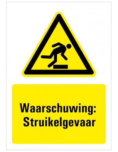 Sticker met tekst waarschuwing struikelgevaar, W007, opstapje, man struikel, driehoek geel zwart