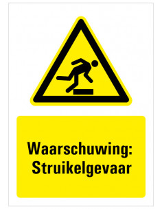 Bord met tekst waarschuwing struikelgevaar, dibond, W007, opstapje