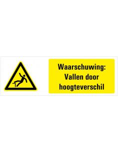 Waarschuwing voor vallen door hoogteverschil tekstbord, geel zwart wit, rechthoek liggend