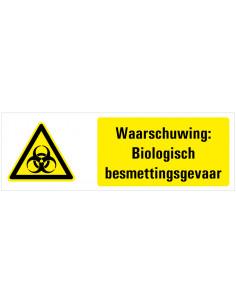 Waarschuwing Biologisch besmettingsgevaar tekststicker, geel wit zwart, liggend rechthoekig