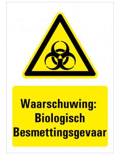 Waarschuwing voor Biologisch besmettingsgevaar bord met tekst, geel zwart wit, rechthoekig staand