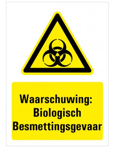 Waarschuwing voor Biologisch besmettingsgevaar sticker met tekst, geel zwart wit, rechthoekig staand