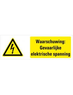 Waarschuwing voor gevaarlijke elektrische spanning tekstbord, geel zwart wit, bliksem symbool, liggende rechthoek