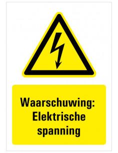 Waarschuwing voor gevaarlijke elektrische spanning sticker met tekst, geel zwart wit, bliksem symbool, rechthoek staand