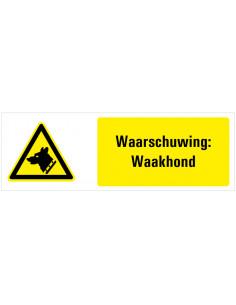 Tekstbord waarschuwing voor waakhond, dibond, geel wit zwart, liggende rechthoek