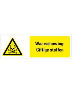 Waarschuwing voor giftige stoffen tekststicker, geel zwart wit, liggende rechthoek, doodshoofd pictogram
