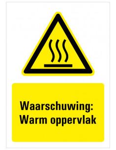 Sticker met tekst waarschuwing warm oppervlak, W017, ISO 7010, geel zwart, rechthoek, heet oppervlak symbool