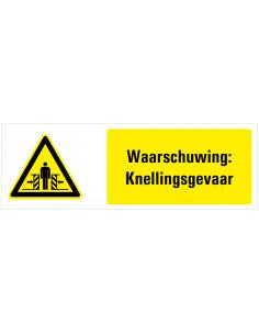 Waarschuwing voor knellingsgevaar tekstbord, zwart geel wit, rechthoek liggend