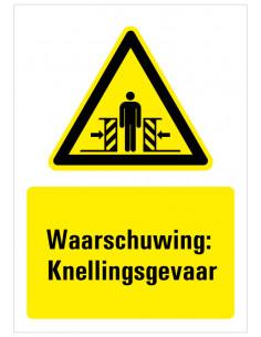 Waarschuwing voor knellingsgevaar bord met tekst, dibond, geel zwart wit, rechthoek staand