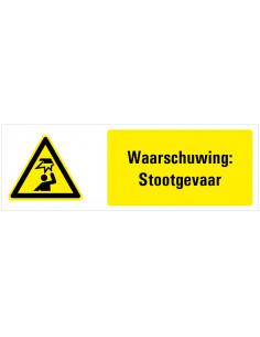 Waarschuwing voor laaghangende obstakels tekststicker, zwart geel wit, rechthoek liggend