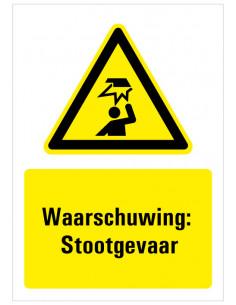 Waarschuwing voor Laaghangende obstakels bord met tekst, zwart geel wit, rechthoek staand