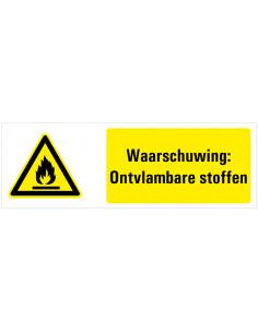 Waarschuwing voor ontvlambare stoffen tekststicker, zwart geel wit, rechthoek liggend